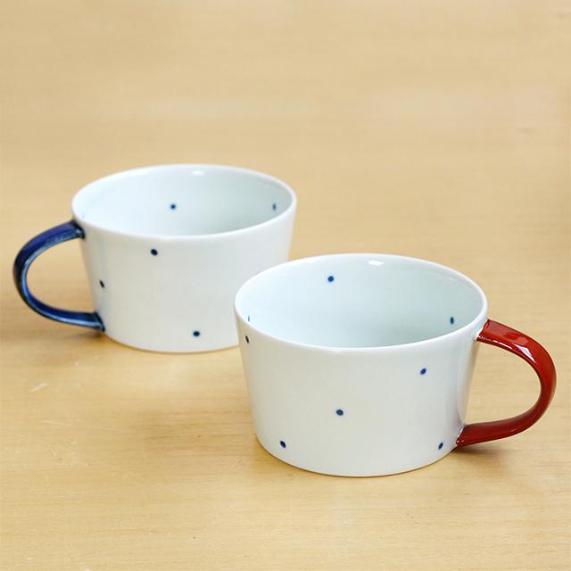 【和食器通販ショップ 藍土な休日】 波佐見焼 康創窯 藍土オリジナル スープカップ 水玉 シンプル