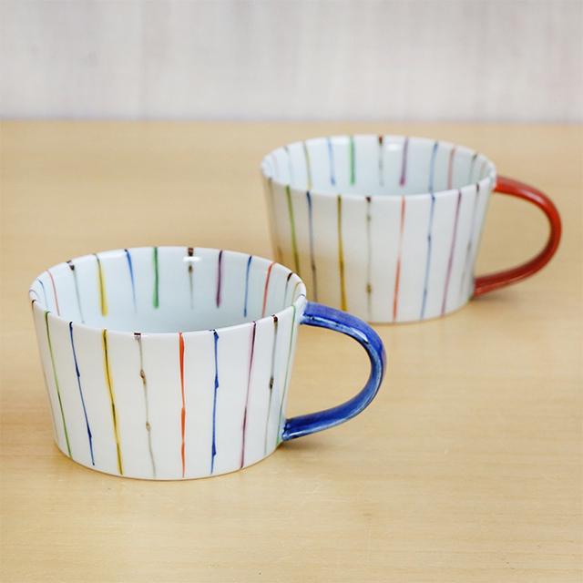 【和食器通販ショップ 藍土な休日】 有田焼 そうた窯 惣太窯 藍土オリジナル スープカップ 十草 ストライプ