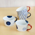 【和食器通販ショップ 藍土な休日】 波佐見焼 康創窯 藍土オリジナル スープカップ 二色丸紋 つれづれ十草