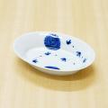 【和食器通販ショップ藍土な休日】染付花唐草リムオーバル皿(小)
