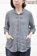 【ポイント10%】【送料無料】リネンギンガムショールカラーシャツ(ホワイト×ブラック)