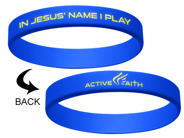 "HO529 【メール便対応】 Active Faith ""In Jesus Name I Play"" シリコンバンド ステフィン・カリー着用 青"