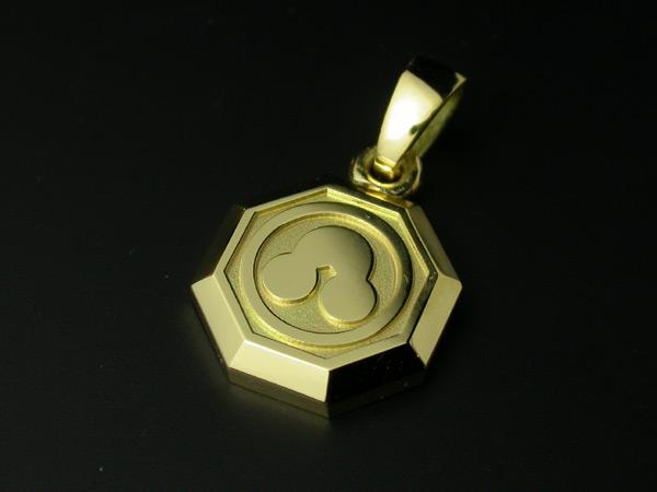 家紋ペンダント・八角・小・K18金ゴールド・梅コース