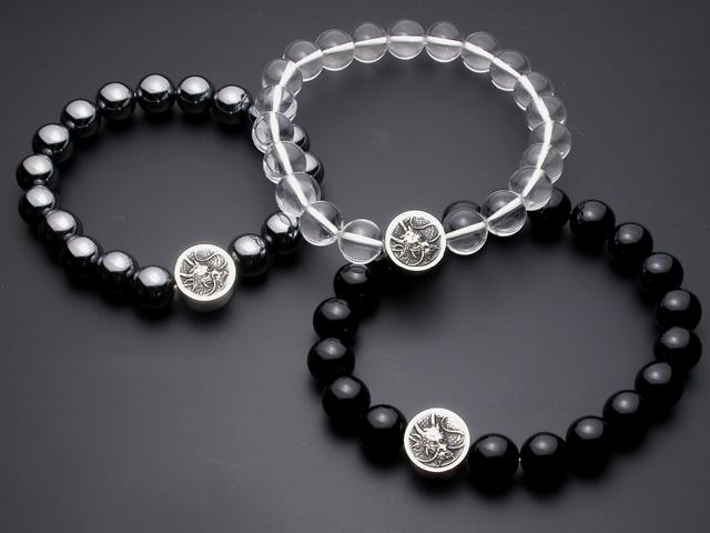 龍紋数珠ブレス【水晶】【オニキス】