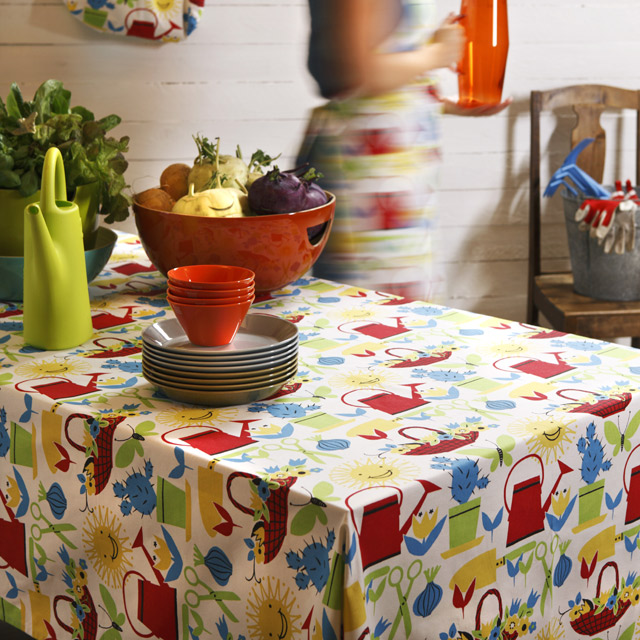 Fabric finlayson tablecloth bluered 1