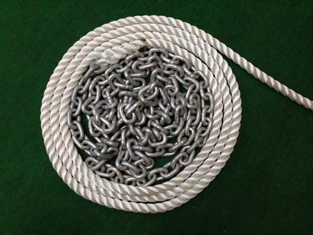 【アンカーロープ&チェーン】三つ打ロープ45m+チェーン3m