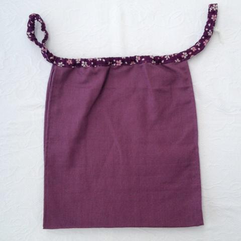 【和癒ぱんつ(ふんどしパンツ)】肌癒ダブルガーゼ(紫)×小花(紫)【緩サイズ】『メール便可』
