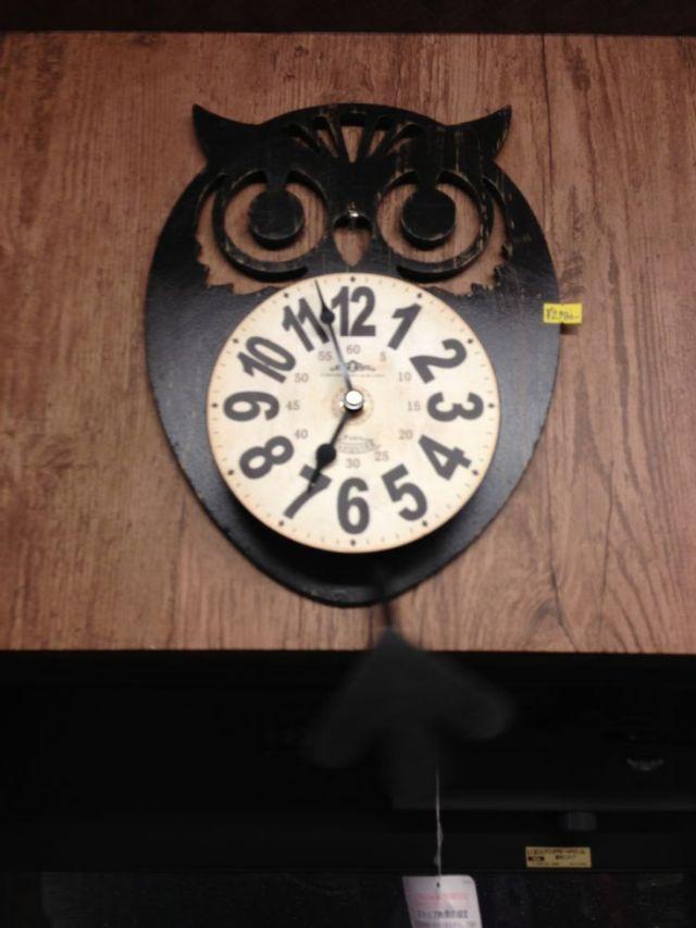 フクロウ掛け時計