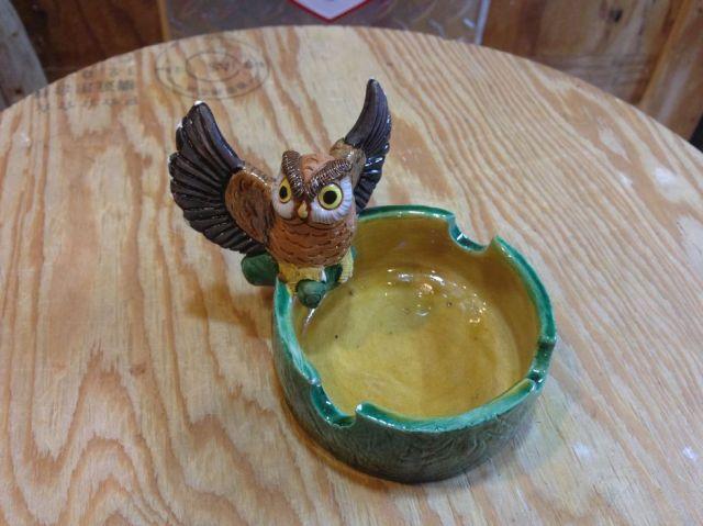 フクロウ灰皿 陶器製