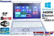 Windows8.1 パナソニック 中古ノートパソコン Let's note NX2 Core i5 3340M(2.70GHz) メモリ4G USB3.0 WiFi カメラ Lバッテリー付