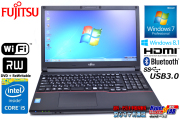 Windows7 64bit 富士通ノートパソコン LIFEBOOK A574/KX Core i5 4310M(2.70GHz) メモリ4GB マルチ WiFi USB3.0 Bluetooth Windows8.1 リカバリ付