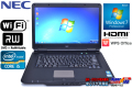 WPSオフィス付 中古ノートパソコン NEC VersaPro VK25T/L-E Corei5 3210M(2.5GHz) メモリ4G WiFi マルチ Windows7 15.6型ワイド