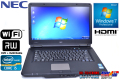 美品 中古ノートパソコン NEC VersaPro VJ24T/L-D Corei5 2430M(2.4GHz) メモリ2G HDD250G マルチ WiFi Windows7 15.6型ワイド