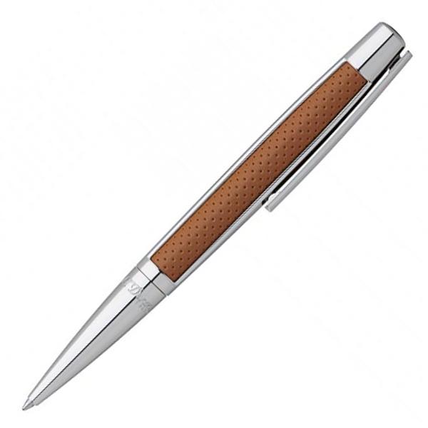 【お取り寄せ】デュポン(S.T.Dupont)DEFI パンチド レザー キャメル & パラディウム ボールペン 405715