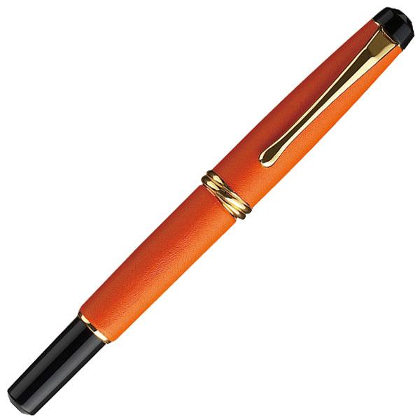 【お取り寄せ】くれ竹(Kuretake) 夢銀河 本革 橙 万年毛筆