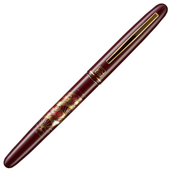 【お取り寄せ】くれ竹(Kuretake) 蒔絵物語 扇面 赤 万年毛筆