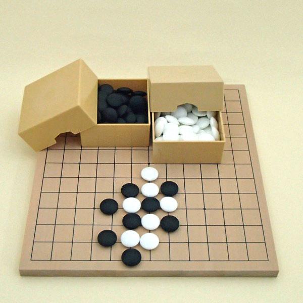 囲碁セット 9・13路碁盤とミニ角ケースと硬質ガラス竹