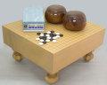 新桂四寸碁盤に青ラベル碁石と木製碁笥