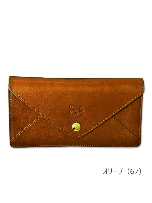 イルビゾンテ【長財布】オリーブ。収納力のある長財布。