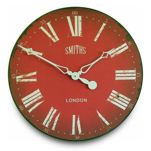ロジャーラッセルRogerLascelles社製 Smiths Wall Clock Antique Style Red   50cm掛け時計 GAL-SMITHS-RED