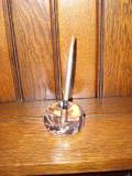 デスクをクリアに飾る ペン立て&ペーパーウエイトクリアガラス