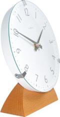 ドームガラスがお洒落! INHOUSEインハウス製置き時計 ドームデスククロック ホワイトM29WA