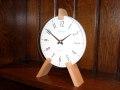 木製ペグがお洒落なアクセント! INHOUSEインハウス製置き時計 トリオデスククロック  ホワイトM66WHV