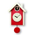 鳩時計 北欧カラ—赤色 さんてる 日本製 振り子はと時計 QL694RE  国産 手作り