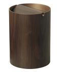木目が綺麗でスマートな蓋付きゴミ箱 ウォルナットwood WN952A φ20×28.5cm