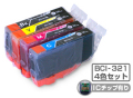 Canon(����Υ�)�������ȥ�å� BCI-321-4PK(IC���å�ͭ��)/4���ѥå�