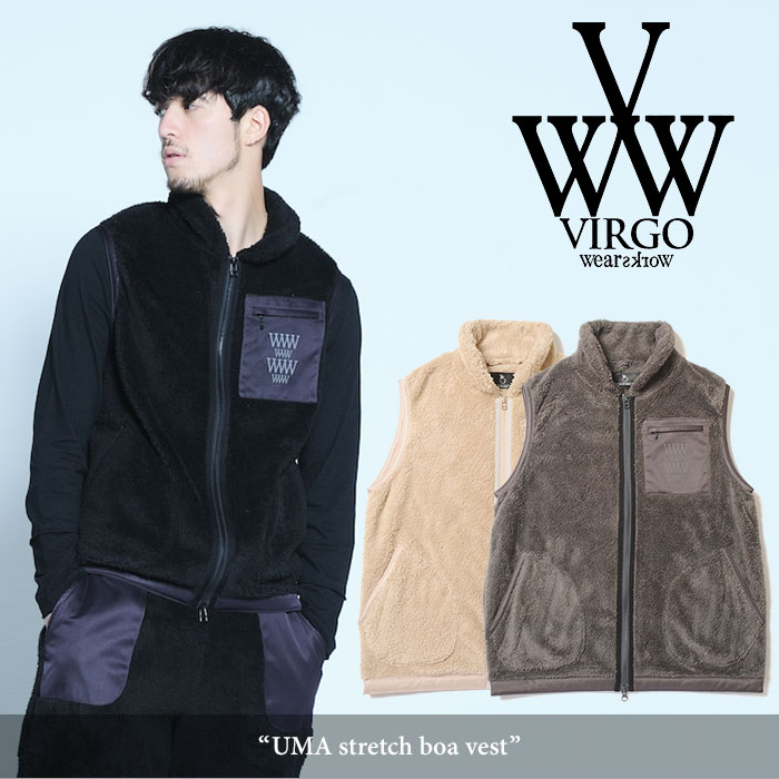 【SALE30%OFF】 VIRGO(ヴァルゴ) UMA stretch boa vest 【2017AUTUMN/WINTER新作】 【送料無料】【即発送可能】 【VG-JKT-178】