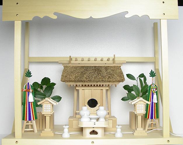 神棚 茅葺一社宮 神路型〈K-14〉+神具セット(フル・小)+神棚板+雲板(大)のセット