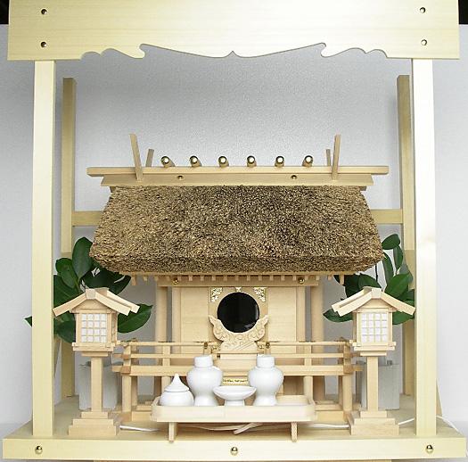 神棚 茅葺一社宮〈K-2〉+神具セット(ハーフ・中)+神棚板+雲板(中)のセット〈K-2用〉