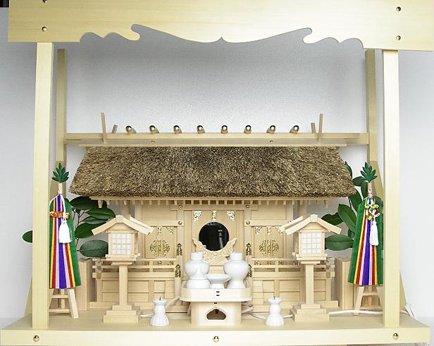 神棚 茅葺三社宮 普及型(大)〈K-7〉+神具セット(フル・中)+神棚板+雲板(大)のセット