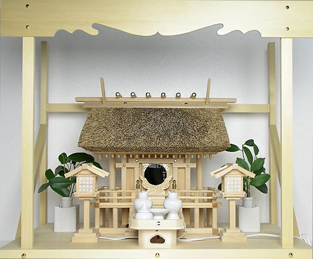 神棚 茅葺一社宮 正殿型〈K-8〉+神具セット(ハーフ・中)+神棚板+雲板(大)のセット