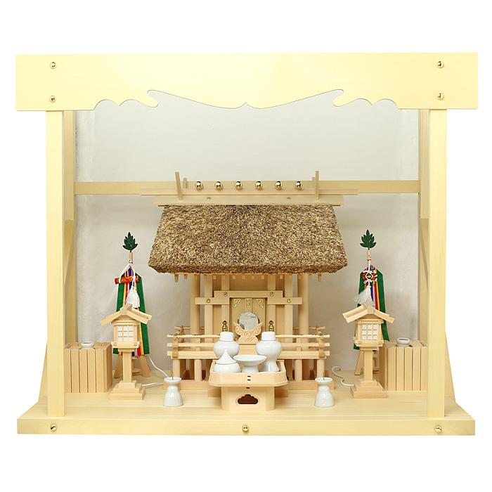 神棚 茅葺一社宮 正殿型〈K-9〉+神具セット(フル・小)+神棚板+雲板(大)のセット