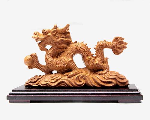 木彫 吉祥雲龍宝珠 台付