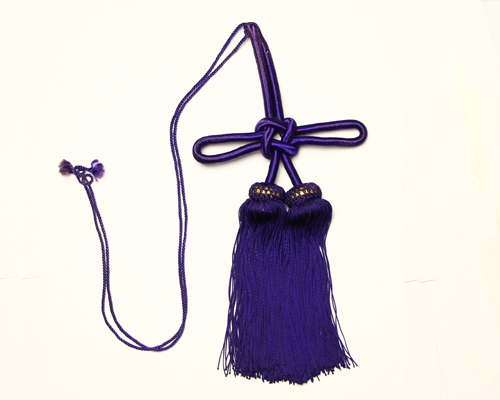 【アウトレット】幕房 人絹撚房 無地 平頭 (紫)5寸