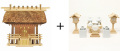 神棚 茅葺一社宮〈K-3〉+神具セット(ハーフ・小)のセット