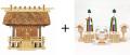 神棚 茅葺一社宮〈K-3〉+神具セット(フル・小)のセット