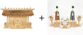 神棚 茅葺三社宮 普及型(大)〈K-7〉+神具セット(フル・中)のセット