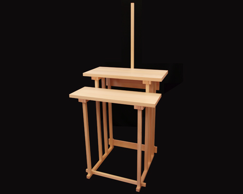 祭壇 組立式 二段式 木曽桧 (半間用幅広型)