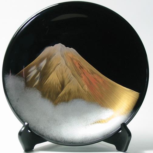 飾り皿 黒 富士山 【送料無料】 木製 漆塗り 絵皿 インテリア