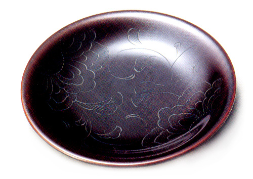 銘々皿 花彫り 溜 5枚セット 【送料無料】木製漆塗り 取り皿・小皿
