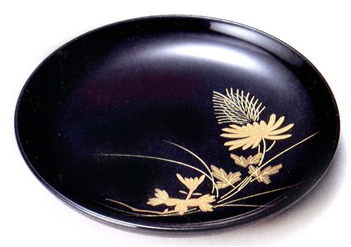 銘々皿 秋草 黒(製造中止) 木製 漆塗り 取り皿・小皿