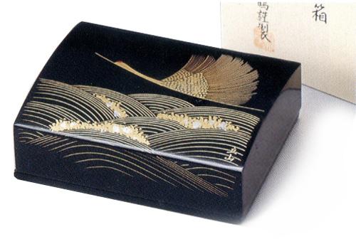 名刺箱(大)沈金 波に鶴 黒 【送料無料】 木製 漆塗り 名刺ケース・名刺入れ