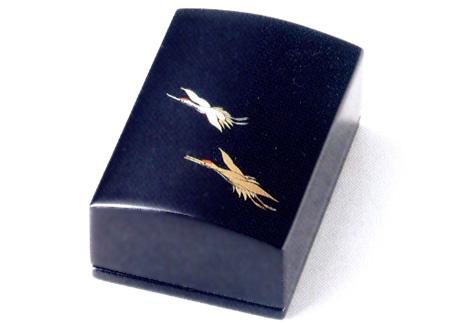 名刺箱(小)二羽鶴 黒(製造中止) 木製 漆塗り 名刺ケース・名刺入れ