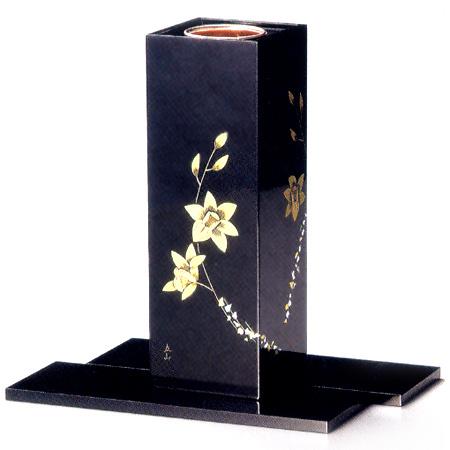 花器 箔らん彫り(製造中止) 木製 漆塗り 花瓶