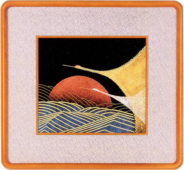 パネル 日の出鶴(製造中止) 木製 漆塗り アート インテリア