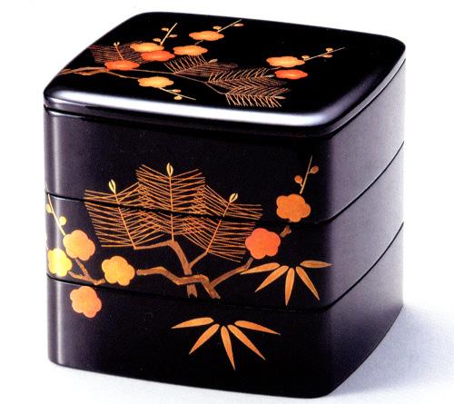 6.5三段重箱 松竹梅 黒内朱 【送料無料】 木製 漆塗りお重箱